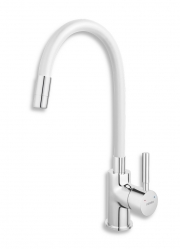 Sink mixer-elastic spout, chrome-white