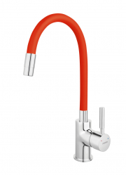 Sink mixer with elastic spout, chrome-red