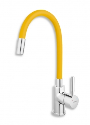 Sink mixer-elastic spout, chrome-yellow