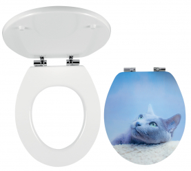Toilet seat, MDF with printing, metal-chrome hinges